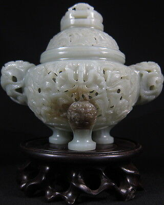Superb Chinese celadon jade Mughal style incense burner