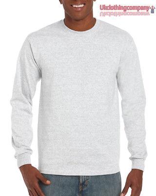 Erwachsene Ultra Cotton T-shirt (Aschgrau Erwachsene Gildan Langärmlig Ultra Cotton T-Shirt Herren Oberteile S M)