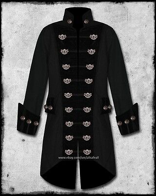 MENS BLACK STEAMPUNK BRASS KEYHOLE VELVET TRIM WEDDING PIRATE COAT JACKET