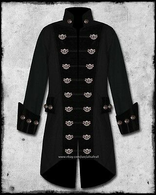 MENS BLACK STEAMPUNK BRASS KEYHOLE VELVET TRIM WEDDING PIRATE COAT JACKET - Steampunk Jacket Mens