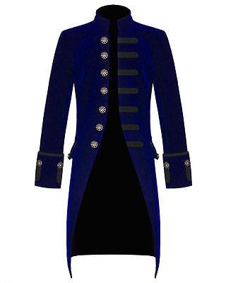 PENTAGRAMME VELVET FROCK COAT Jacket Red-Black-Blue Goth Pirate Vampire - Red Pirate Jacket