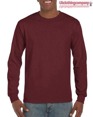 Erwachsene Ultra Cotton T-shirt (Maroon Erwachsene Gildan Langärmlig Ultra Cotton T-Shirt Herren Oberteile S M L)