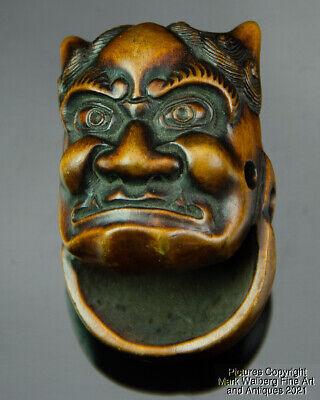 Japanese Carved Boxwood Netsuke, Double Mask, Okame & Oni, 19th C.