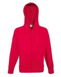 Fruit Of The Loom Men's Lightweight Full Zipped Hooded Raglan Sweat Jacket