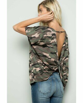 Sugar and Spice Short Sleeve Open Back Top in Camo Print Open Back Short