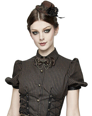 Devil Fashion Steampunk Hat Hair Barrette Fascinator Brown Black Rose Feathers