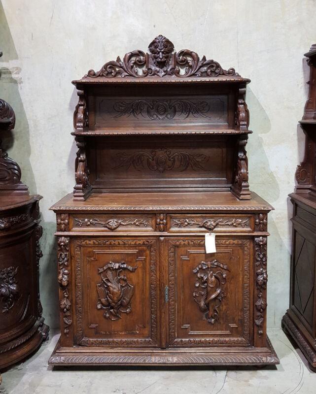 1110027 : Antique French Renaissance Carved Hunt Buffet Vaisselier Cabinet