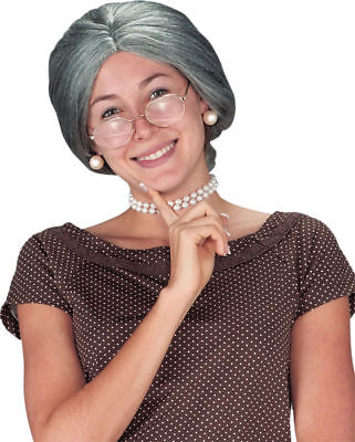 Morris Costumes Women's Old lady Traditional Granny Character Grey Wig. FW9259 (Traditional Halloween Characters)