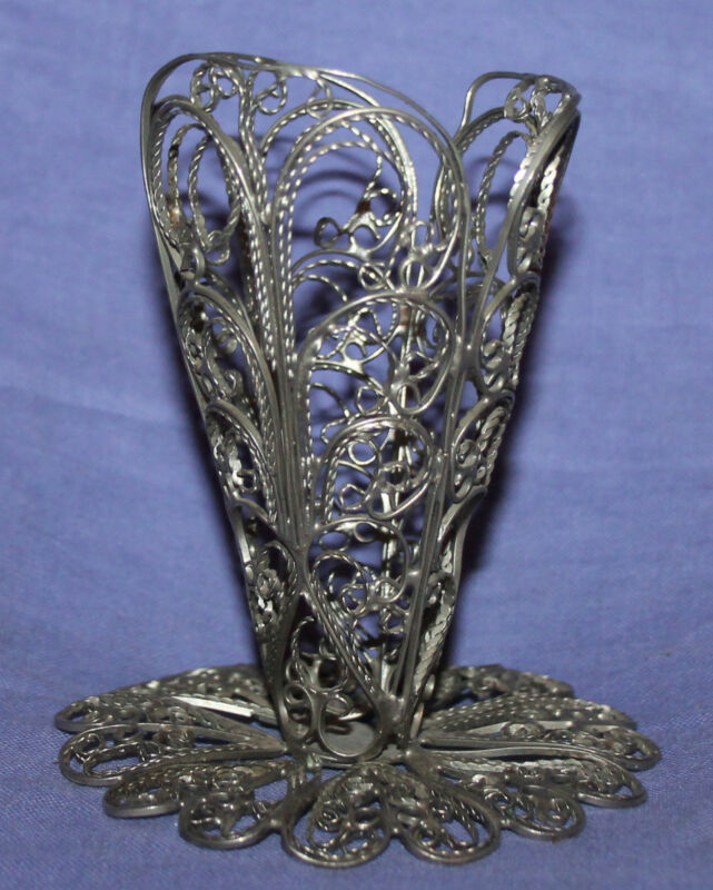 Vintage hand made ornate silver plated filigree small vase cup holder