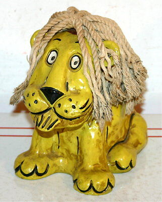 Vintage Papiermache Bank Lion With Yarn Hair   Hong Horizon Maruyoshi Originals