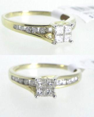 10k Yellow Gold .49ct Diamond Princess Bridal Wedding Engagement Ring Size 7