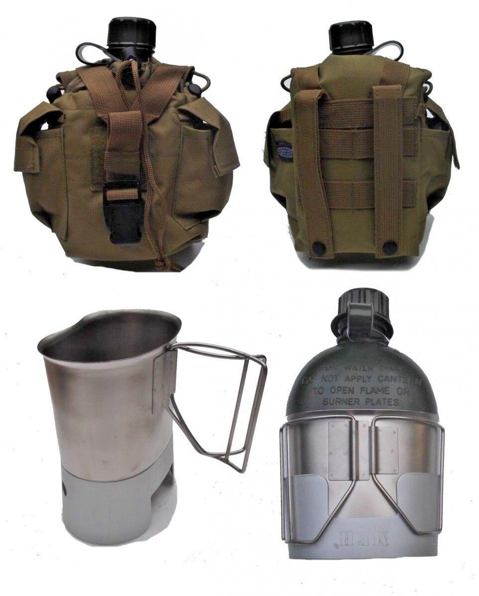 Feldflasche mit US Army Flaschentasche Coyote Kocher und Feldflaschenbecher
