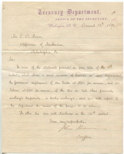 1879 U.S. Secretary of the Treasury John Sherman Letter Signed