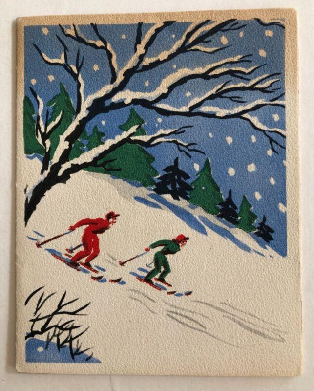 VINTAGE VOLLAND CHRISTMAS CARD & ENVELOPE NEW UNUSED SKIERS SKING