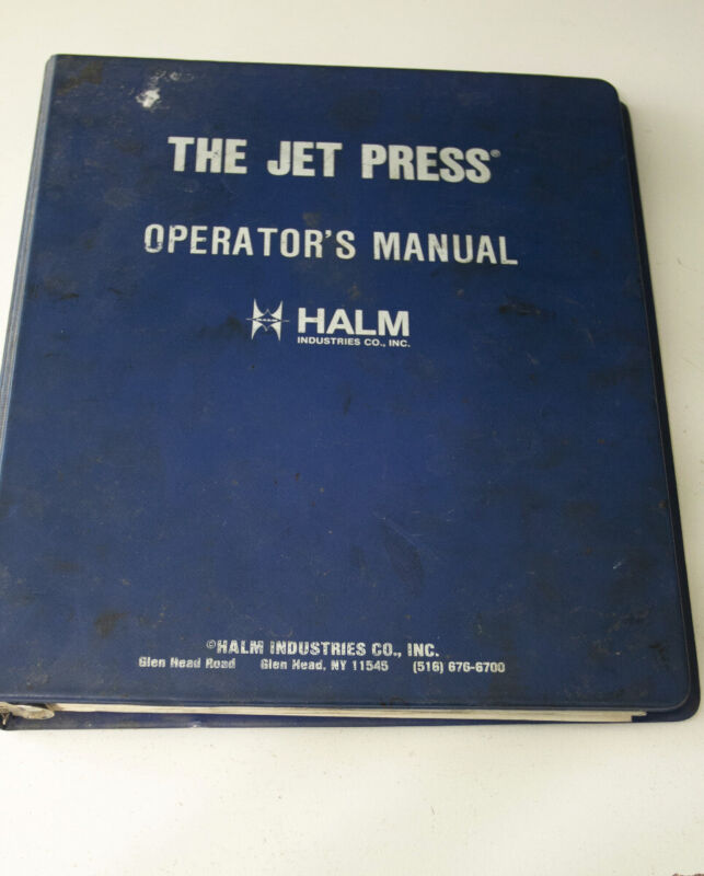 Halm Jet Press Operation Manual