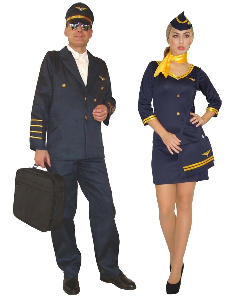 Stewardessen Kostüm Pilot Stewardess Uniform Faschingskostüm Gr. XS S M L XL