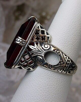 Big 30ct *Red Ruby* Art Deco 1930's Design Sterling Silver Filigree Ring Size 9
