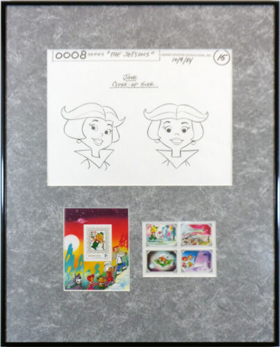 """The Jetsons Mongolia Stamp Set"" Commemorative Lithograph Judy Jetson FRAMED"