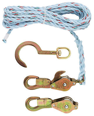 "Klein Tools 1802-30S Block and Tackle with 3/8"" Rope & Swivel Hook 750 lb Limit"