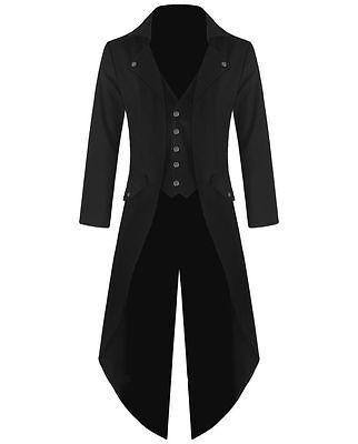 Mens Tailcoat (Banned Men's Steampunk Tailcoat Jacket Black Gothic Victorian Coat VTG)
