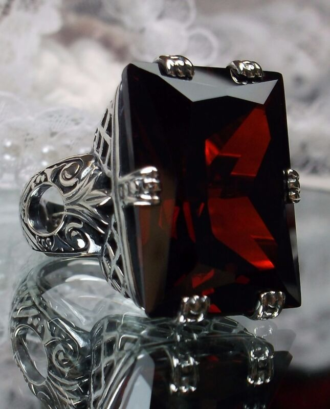 30ct Garnet CZ Art Deco 1930s Sterling Silver Filigree Ring Size {Made To Order}