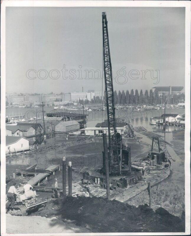 1958 Press Photo Pile Driving Barge & Crane Lake Washington Seattle