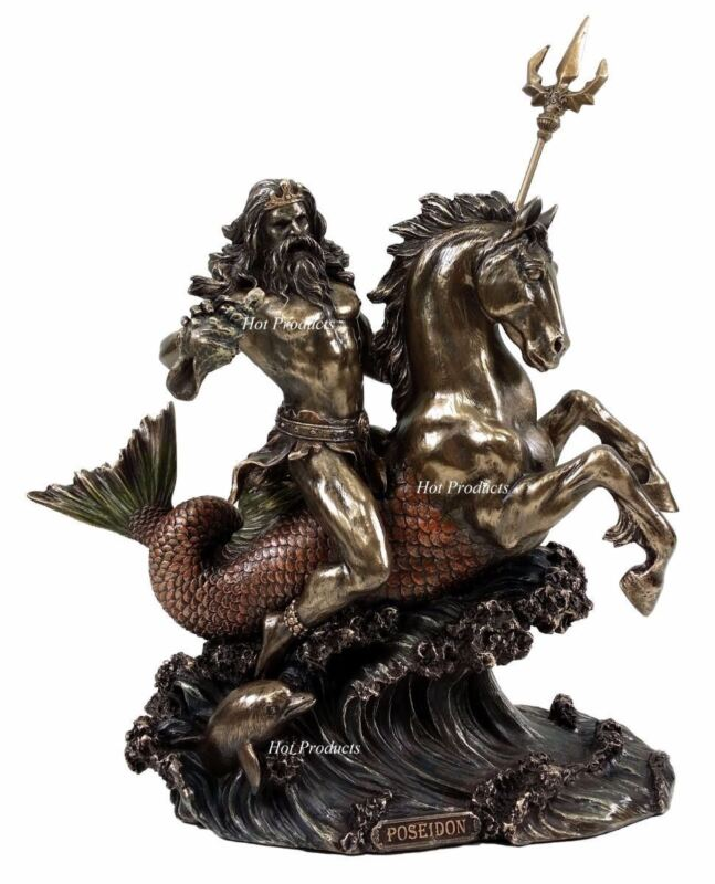 Poseidon on Hippocampus Horse GREEK MYTHOLOGY God of Sea Statue Bronze Color