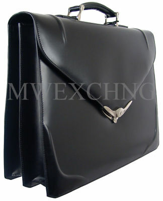 SAMSONITE BLACK LABEL BAYAMO BRIEFCASE TWO GUSSETS NEW BLACK LEATHER