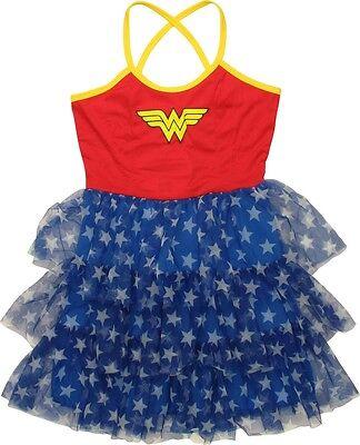 DC Comics Wonder Woman Mini Skirt Dress Tiered Cross Back Cami Junior Size M NWT - Wonder Woman Mini