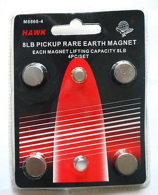 Set Of 4 Neodymium Rare Earth 8lb Pickup Magnets Hawk M8868-4 Us Shipping