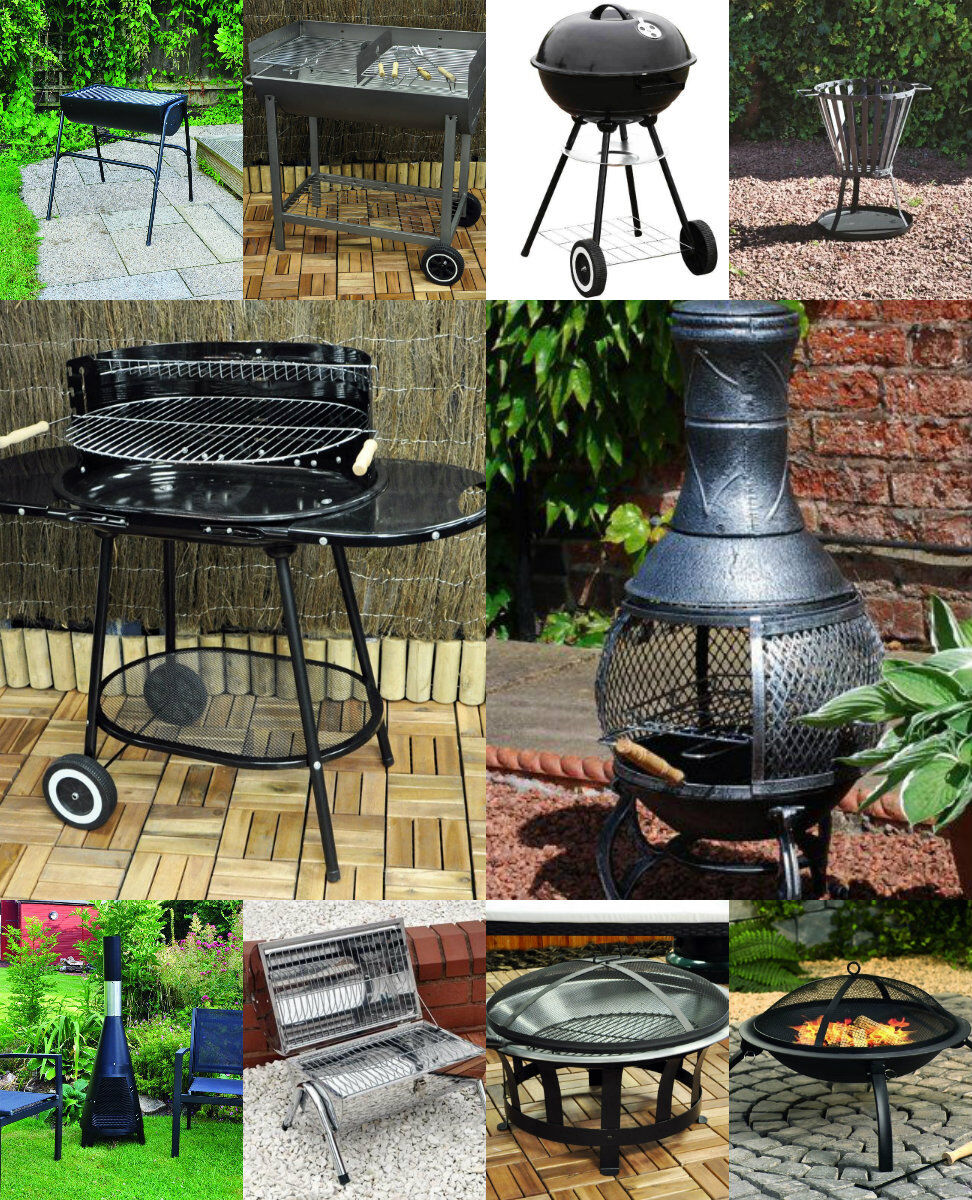 gro dunkelgrau stahl wagen garten grill bbq grill chimnea holzofen ebay. Black Bedroom Furniture Sets. Home Design Ideas
