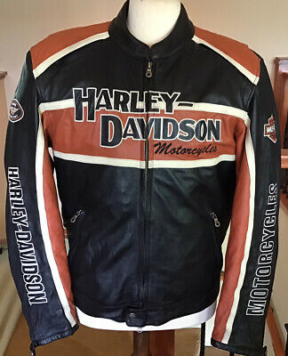 HARLEY DAVIDSON Men's XL Classic Cruiser B&S Armored Leather Jacket W/ Liner