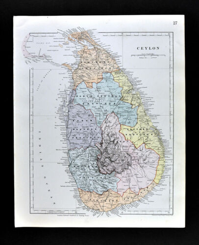 1885 Stanford Map Ceylon Sri Lanka Colombo Kandy Negombo India Asia Antique