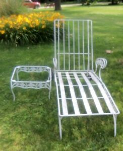 Vintage White Wrought Iron Adjustable Chaise Lounge Amp ...