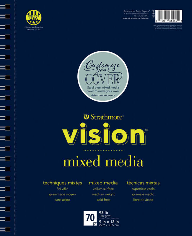 "Strathmore Vision Vellum Mixed Media Pad 9""X12""-98lb, 70 Sheets"