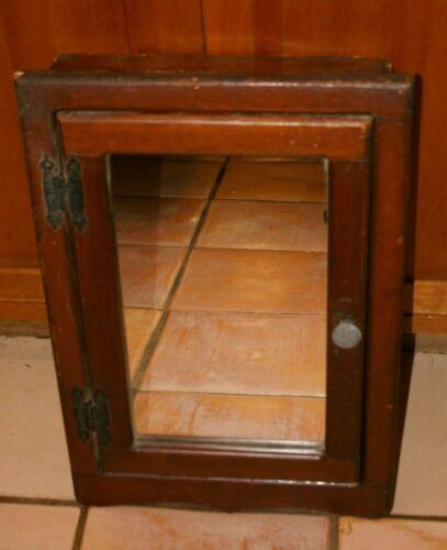 VINTAGE Wood Medicine Wall Cabinet Mirror 3 Shelves BLACK Hinges