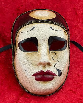 Mask Venice Pierrot crackle paper mash - 1838 - V13