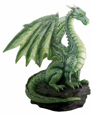 Green Dragon on Rock Figurine Medieval Mythical Fantasy Creature Decoration New