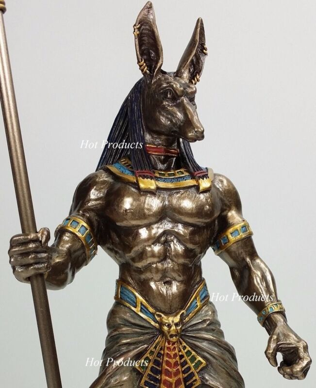 Egyptian Anubis Jackal W/ Cobra Scepter Statue Sculpture Antique Bronze Finish