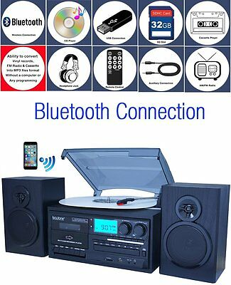Boytone BT-28SPB Bluetooth Classic Turntable Stereo System CD Cassette SD Black