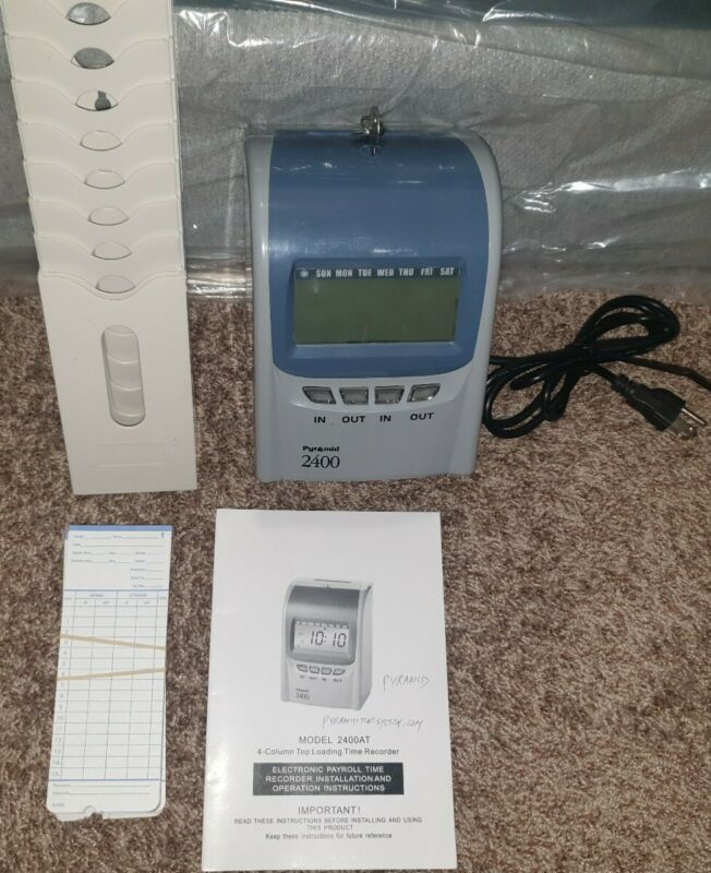 PYRAMID 2400 TIME CLOCK set with Time Cards, Holder, and Manual!