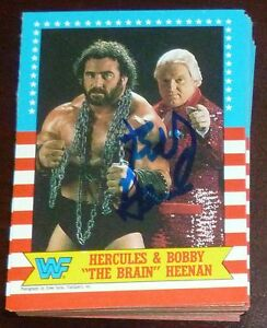 Bobby-Heenan-Signed-Auto-1987-Topps-WWE-Card-9-Autograph-WWF-Hercules-The-Brain