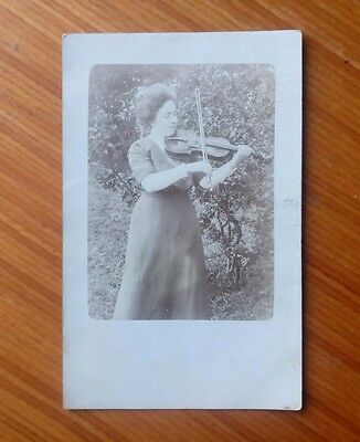 Vintage* Lady with Violin and Bow. Old fashioned photo... Cabinet ? style. ..,..