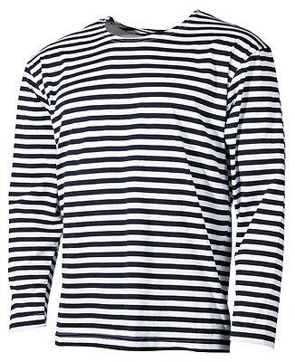 MFH Russisches Marine T-Shirt langarm Ringelshirt Matrosenshirt blau-weiss S-3XL