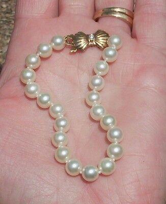 7 mm Mikimoto Japanese Akoya Saltwater Pearl Bracelet - 14K Diamond Clasp