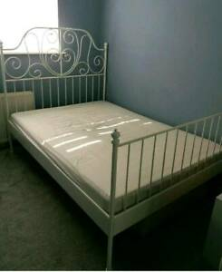 Ikea white metal queen bed free caninet for sale free delivery