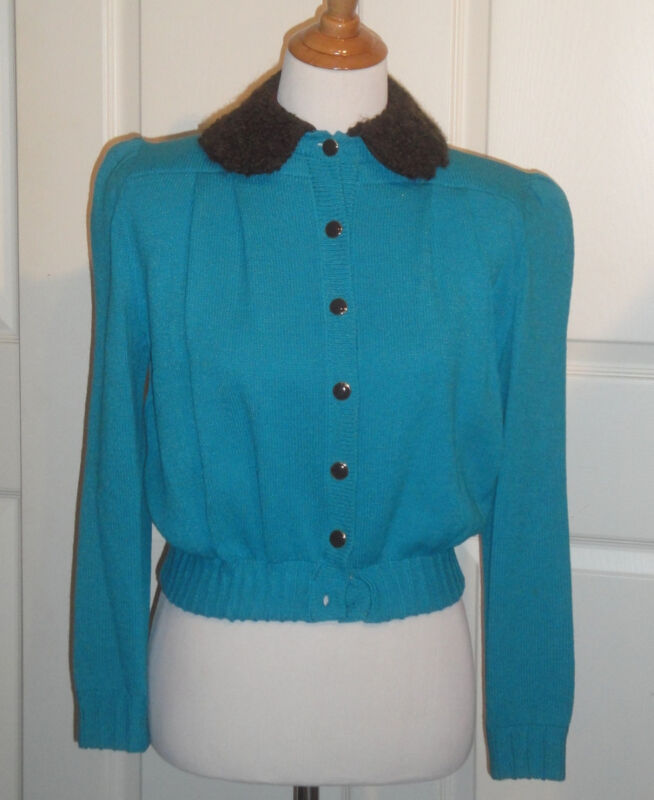 Vintage Turquoise St John Knit Marie Gray Sweater Top Boucle Collar B40 Size 6