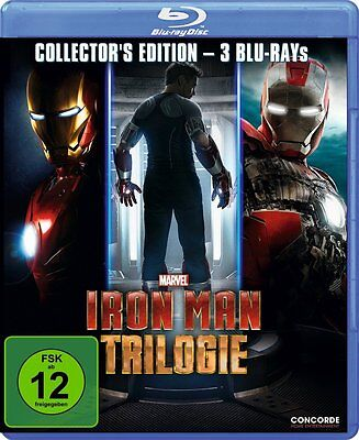 Iron Man Trilogy 3 Movie Collection Marvel Comics Blu Ray   Region Free