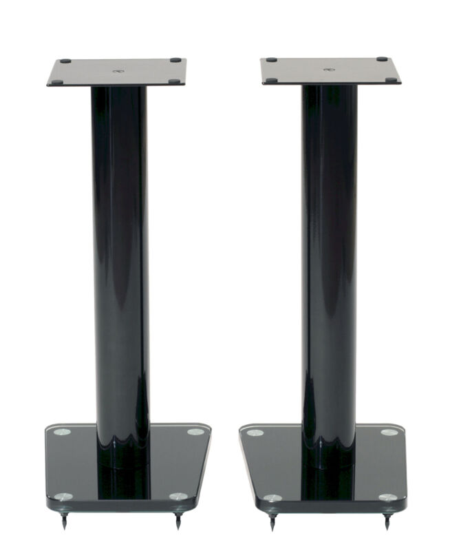 "TransDeco 24"" High Speaker Stand Glass / Steel in Gloss Black - Pair NEW"