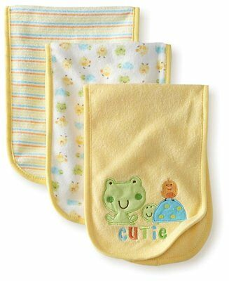 Gerber Unisex-Baby 3 Pack Terry Burp cloths Frog, Yellow